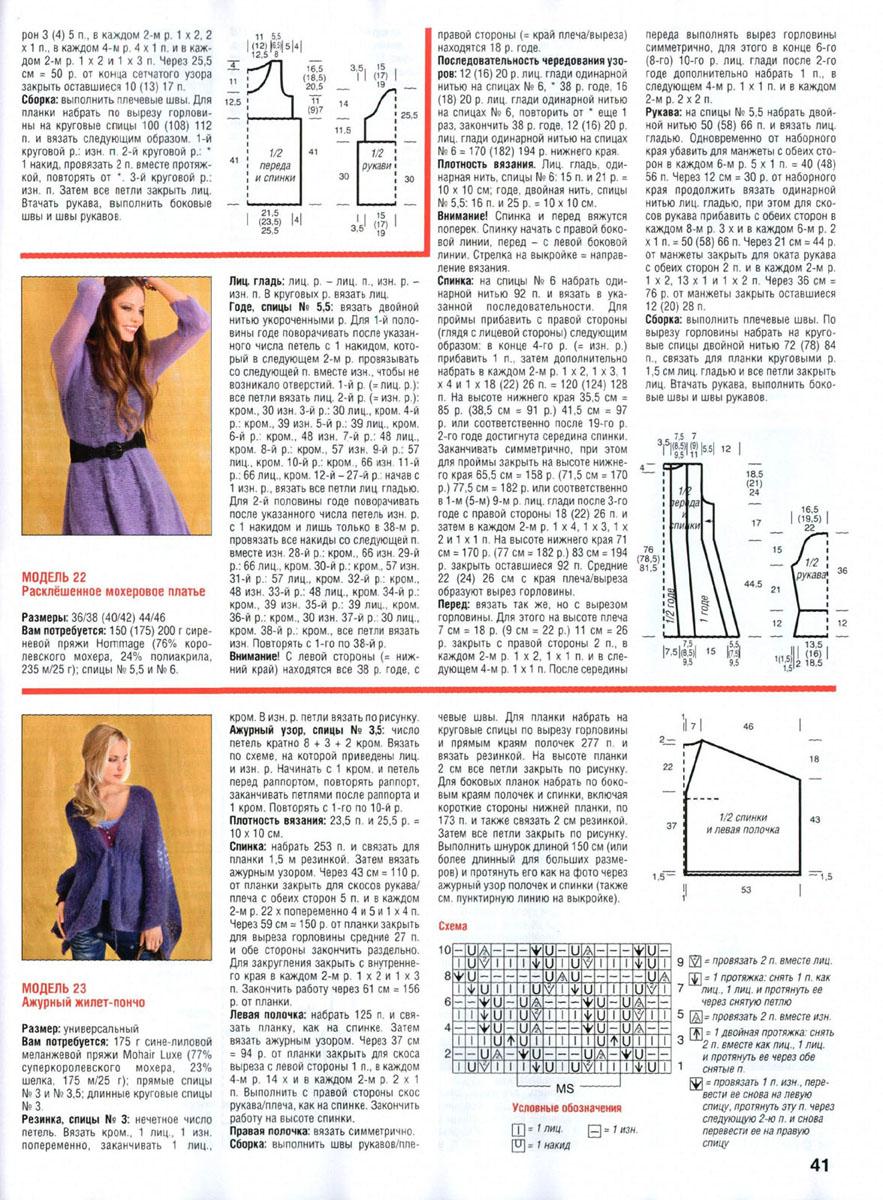 Схема вязания безрукавки спицами из мохера для