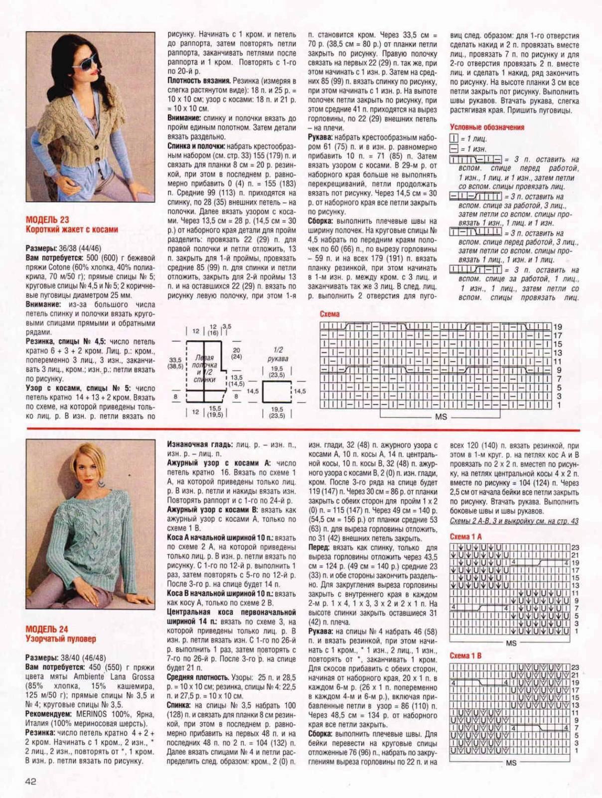 Схемы вязание спицами журнал сабрина