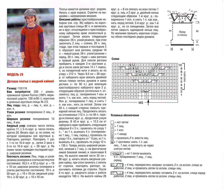 Рукав для детского платья спицами схема